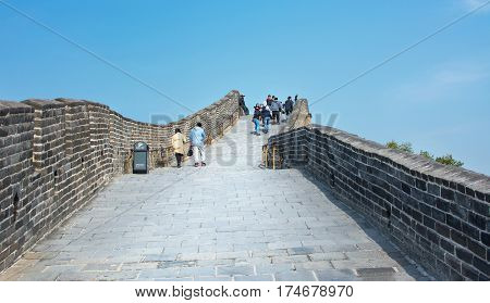 Beijing, China, September,29, 2016: Tourists Walking On The Great Wall Of China