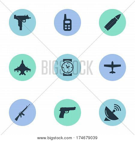 Set Of 9 Simple War Icons. Can Be Found Such Elements As Signal Receiver, Walkies, Sky Force And Other.