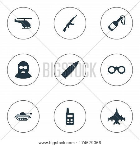 Set Of 9 Simple Battle Icons. Can Be Found Such Elements As Field Glasses, Kalashnikov, Sky Force And Other.