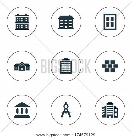 Set Of 9 Simple Construction Icons. Can Be Found Such Elements As Offices, Residence, Superstructure And Other.