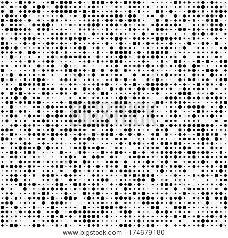 Universal Seamless Pattern of Black Circles on White Background. Abstract Geometric Asymmetric Monochrome Texture.