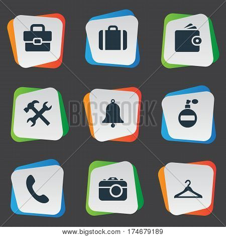 Set Of 9 Simple Instrument Icons. Can Be Found Such Elements As Hanger, Call Button, Billfold And Other.