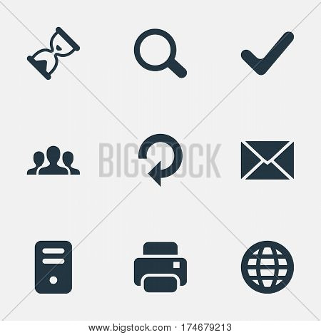 Set Of 9 Simple Apps Icons. Can Be Found Such Elements As Community, Printout, Web And Other.