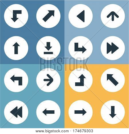 Set Of 16 Simple Indicator Icons. Can Be Found Such Elements As Indicator, Right Direction, Left Direction And Other.