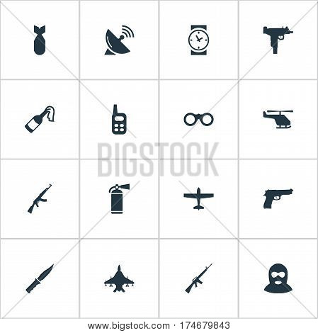 Set Of 16 Simple Battle Icons. Can Be Found Such Elements As Field Glasses, Cold Weapon, Extinguisher And Other.