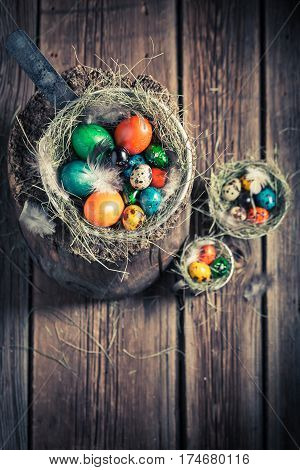 Ecological Eggs For Easter In Wooden Small Henhouse