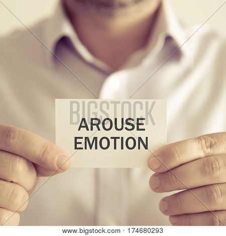 Businessman Holding Arouse Emotion Message Card