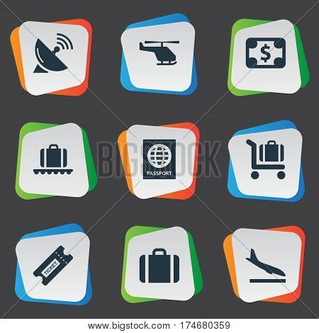 Set Of 9 Simple Transportation Icons. Can Be Found Such Elements As Currency , Handbag, Certificate Of Citizenship.