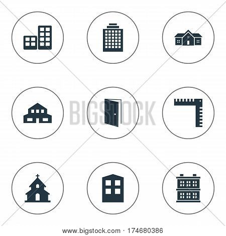 Set Of 9 Simple Architecture Icons. Can Be Found Such Elements As Residential, Popish, Offices And Other.