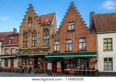 GHENT, BELGIUM - JANUARY 29, 2017: Flemish buildings in the UNESCO World Heritage Old Town of Bruges Belgium
