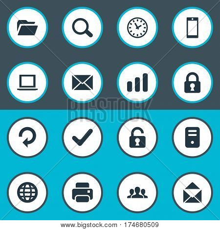 Set Of 16 Simple Practice Icons. Can Be Found Such Elements As Community, Notebook, Watch And Other.