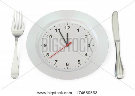 Dinner plate with clock face 3D rendering isolated on white background