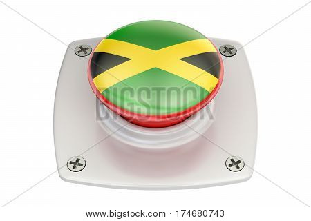 Jamaica flag push button 3D rendering on white