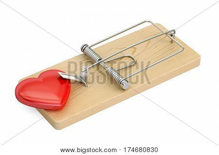 mousetrap with red heart 3D rendering isolated on white background