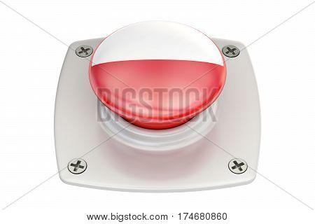 Poland flag push button 3D rendering on white