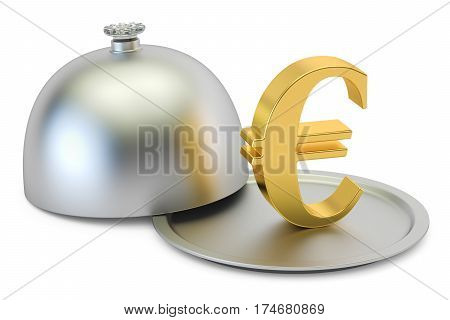 Restaurant cloche with gold euro symbol 3D rendering