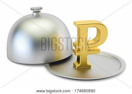 Restaurant cloche with gold ruble symbol 3D rendering