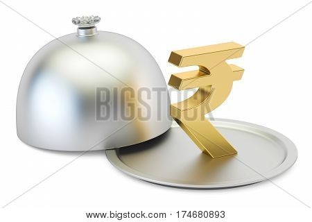 Restaurant cloche with gold rupee symbol 3D rendering