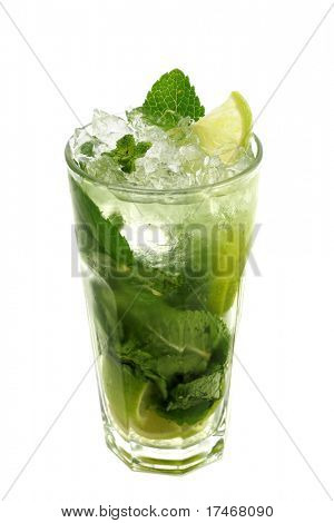 Refreshment Acoholic Drink made of White Rum, Sugar, Lime, Carbonated Water and Mint. Lime Garnish. Isolated on White Background.