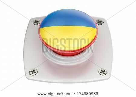 Ukraine flag push button 3D rendering isolated on white background