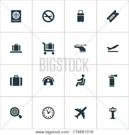Set Of 16 Simple Plane Icons. Can Be Found Such Elements As Luggage Carousel, Garage, Flight Control Tower And Other.