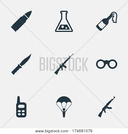 Set Of 9 Simple War Icons. Can Be Found Such Elements As Field Glasses, Walkies, Rifle Gun And Other.