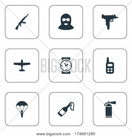 Set Of 9 Simple Battle Icons. Can Be Found Such Elements As Watch, Kalashnikov, Terrorist And Other.