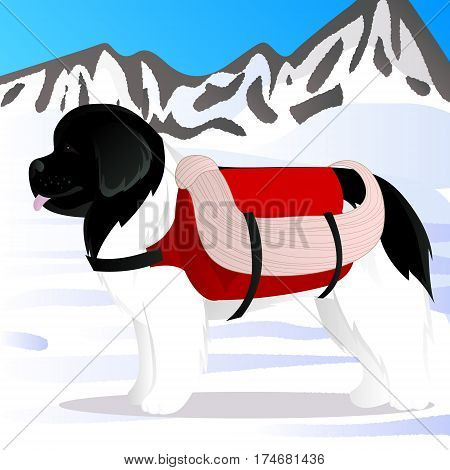 Newfoundland dog lifesaver in mountains vector illustration