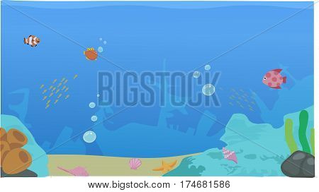 a underwater background, undersea life, a seaweed, fishes