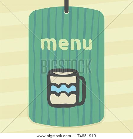 Vector outline tee or coffee cup icon on label with hand drawn striped background. Elements for mobile concepts and web apps. Modern infographic logo and pictogram.