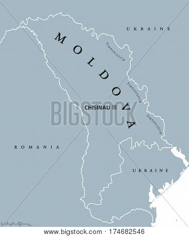 Moldova political map with capital Chisinau, Transnistria, national borders and neighbors. Also Moldavia, landlocked republic and country in Eastern Europe. Gray illustration. English labeling. Vector