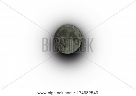 Moon isolated with a white background and a shadow underneath