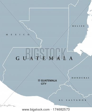 Guatemala political map with capital and national borders. Republic and country in Central America, the core of the Maya civilization. Gray illustration on white background. English labeling. Vector.