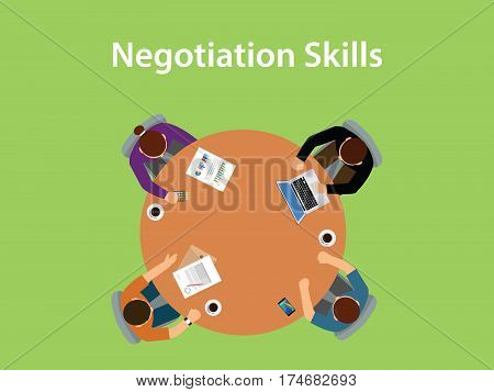 negotiation skills illustration with four people discuss in one table with paperworks, coffee and laptop on top of table vector