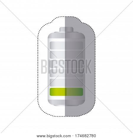 sticker battery symbol with level low energy charge vector illustration