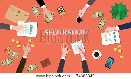 arbitration concept illustration with people discuss in a meeting with paperworks, money, coins and folder document on top of table vector