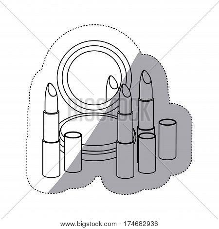 sticker monochrome contour with make up set vector illustration