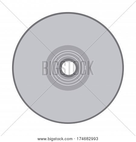 grayscale silhouette with compact disc vector illustration