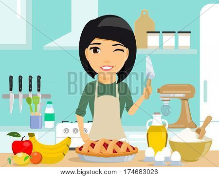 Young girl housewife prepares a delicious a pie. food products are on the table next to the girl. A girl holding a knife to cut the cake and winks. Happy girl