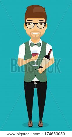 Young boy is working as a bartender. Isolated on a blue background in cartoon style. Bartender holding a glass in one hand into another bottle of wine.