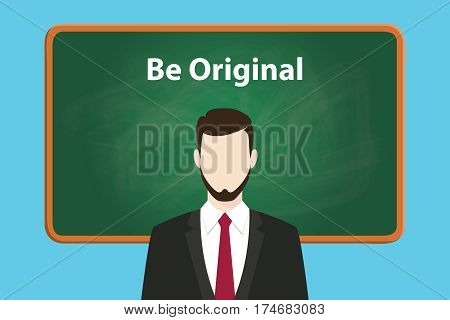 be original white text illustration on green chalk board with a beard man wearing black suit standing in front of the board vector