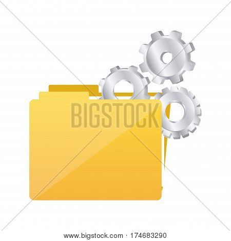 color silhouette with folder and pinions vector illustration