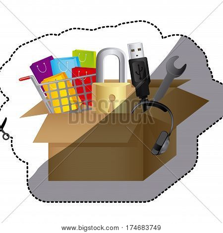 sticker color silhouette with box obsolete objects vector illustration