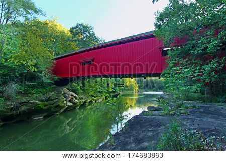 The Narrows Covered Bridge spans Sugar Creek at Turkey Run State Park in Indiana.