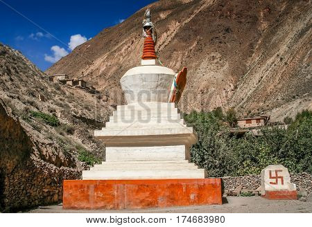 Small buddhist stupa in the mountains in Yunnan province, China