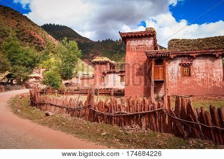 Traditional tibetan home in one of the small tibetan villages, Eastern Tibet
