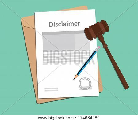 disclaimer agreement stamped with folder document, blue pencil and judge hammer vector