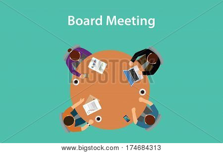 board meeting illustration with for people meeting on a table with paperworks on top of the table vector