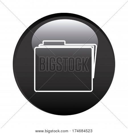 black circular frame with folder icon vector illustration