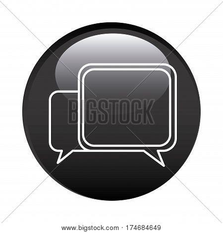 black circular frame with speech icon vector illustration